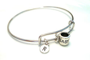 Image Is Loading Personalized Baby Cup Bangle Bracelet Choose An Initial