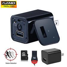 8GB 1080P Mini AC adapter EU/US/plug Charger Hidden Spy Motion Detection camera