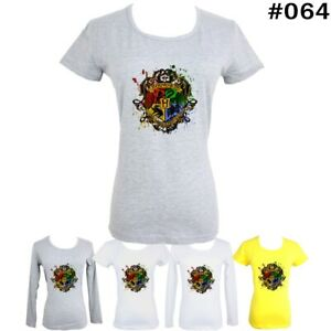 Harry-Potter-Hogwarts-On-Wood-Design-Women-039-s-Girl-039-s-T-Shirt-Graphic-Tee-Tops