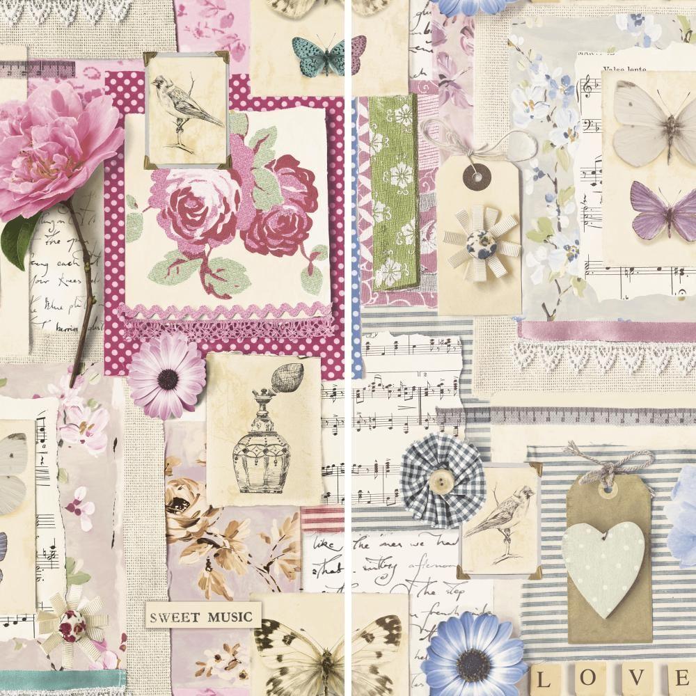 Grandeco Amelie Collage Floral Collage Amelie Motif Papier Peint