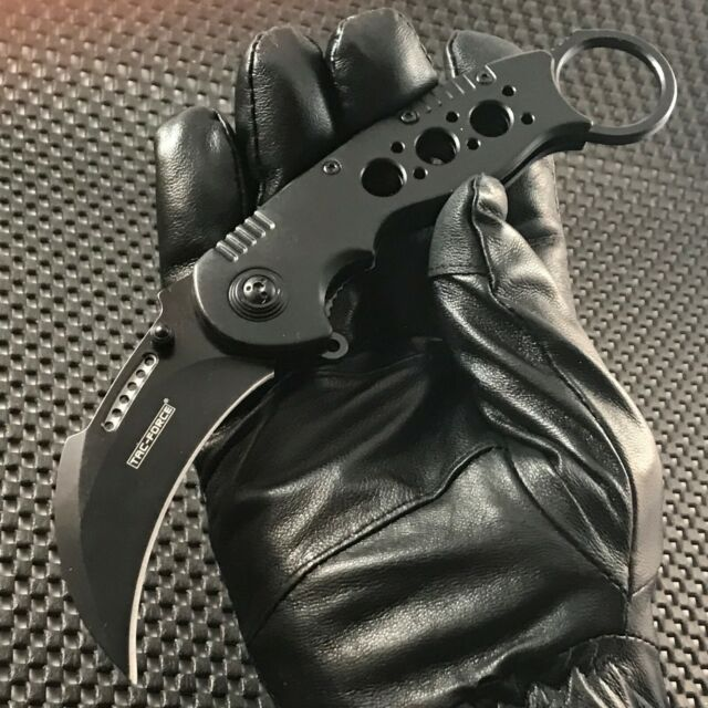 BLACK KARAMBIT Spring Assisted Tactical Open Claw Blade Folding Pocket Knife EDC