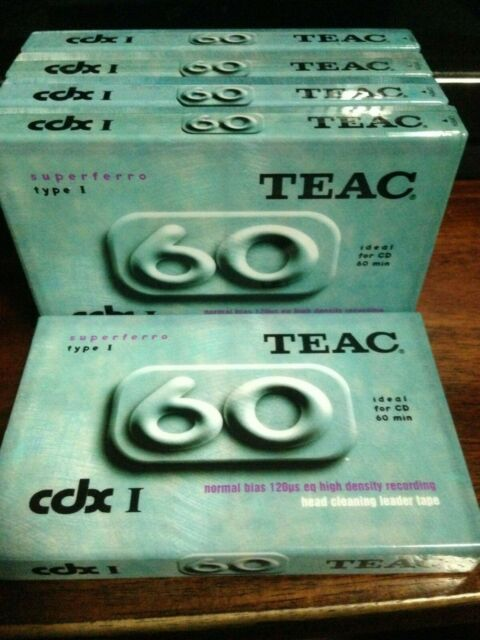 Teac Cassette Tape blank normal Bias cdx60 vintage selling these as a 5 pack