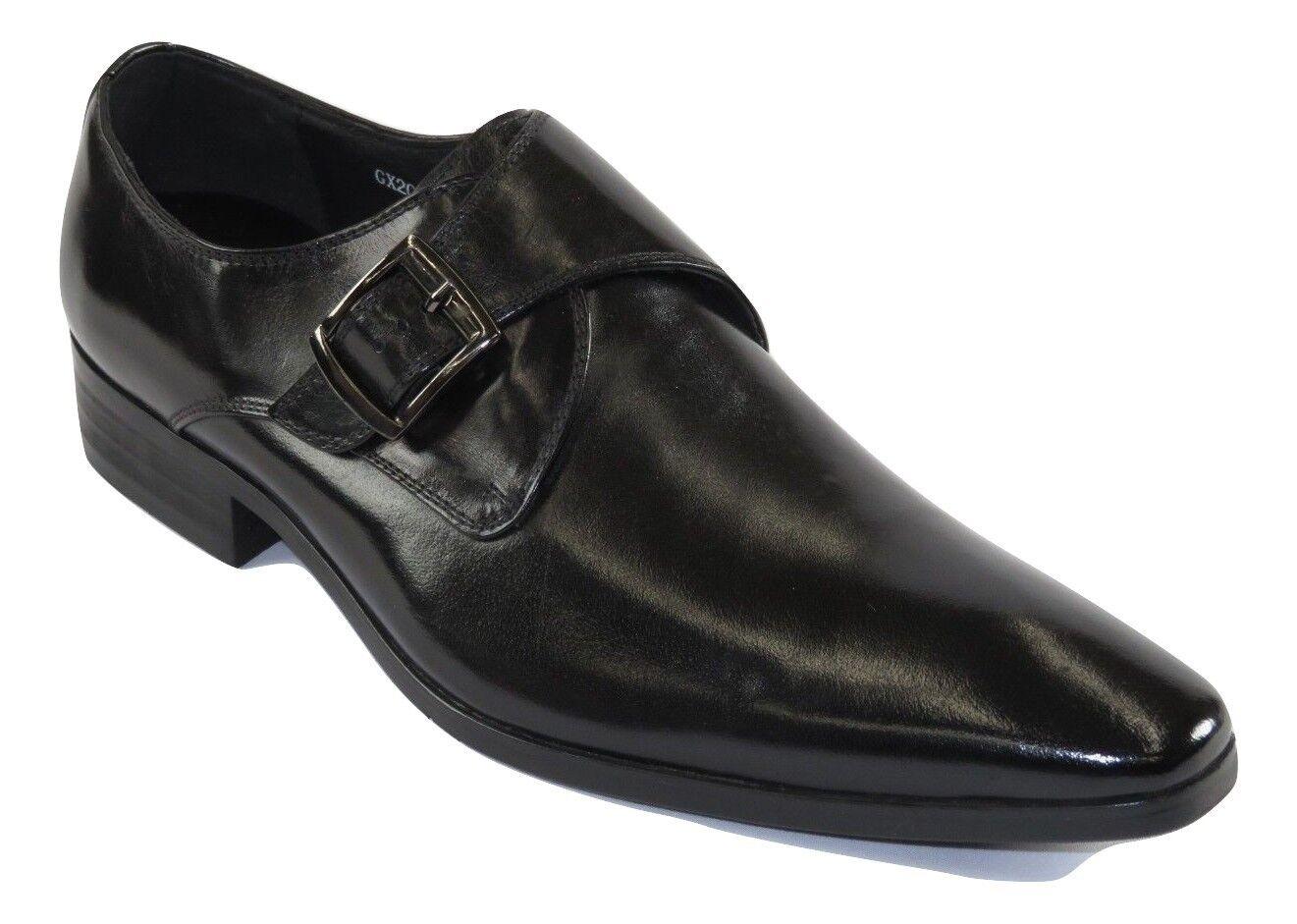 Zapatos de cuero masculinos zota. Hebilla Europea clásica gx201 negro.