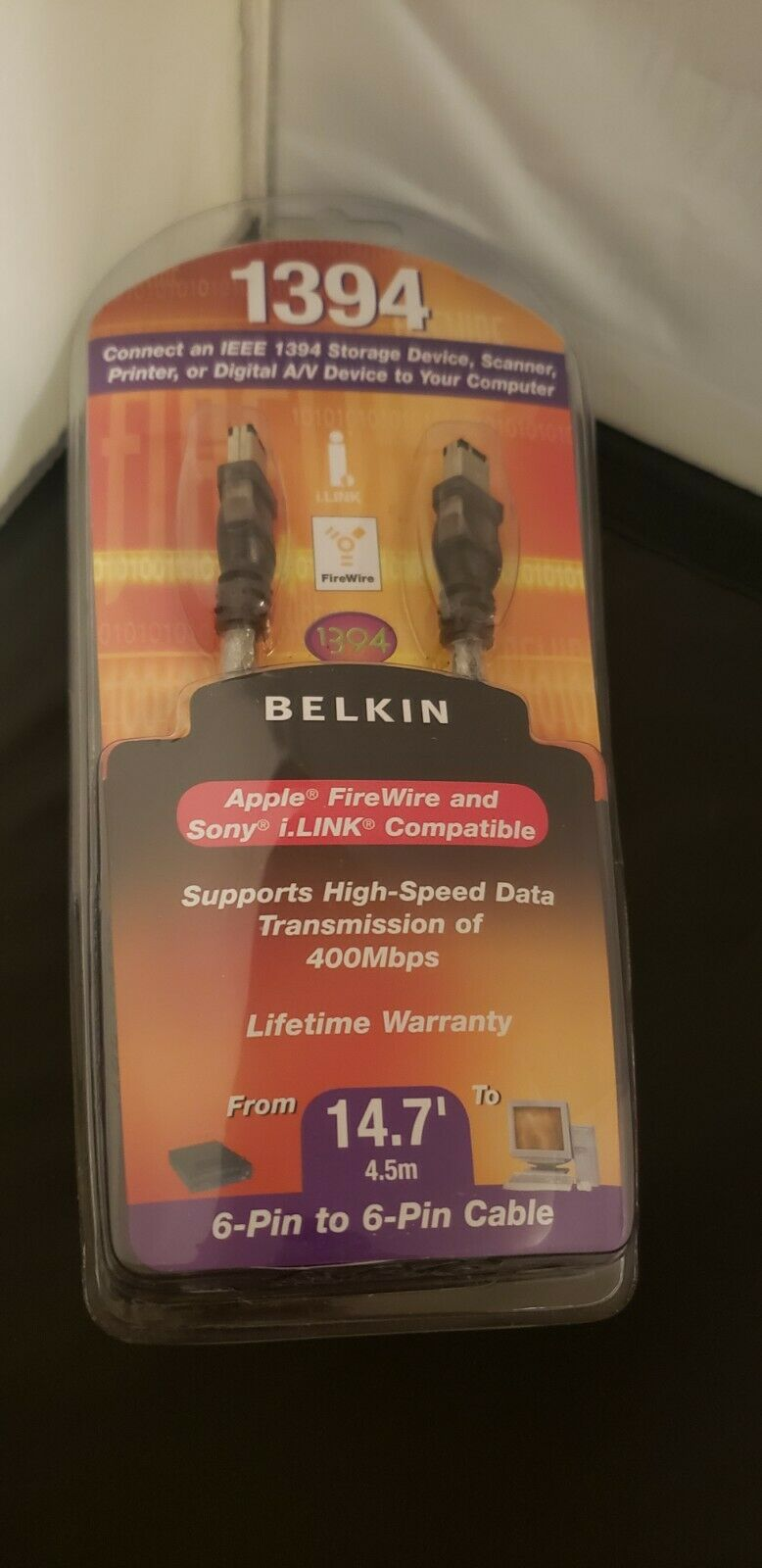 NEW Belkin 14.7' IEEE1394 FireWire / i.LINK 6-pin to 6-pin Cable
