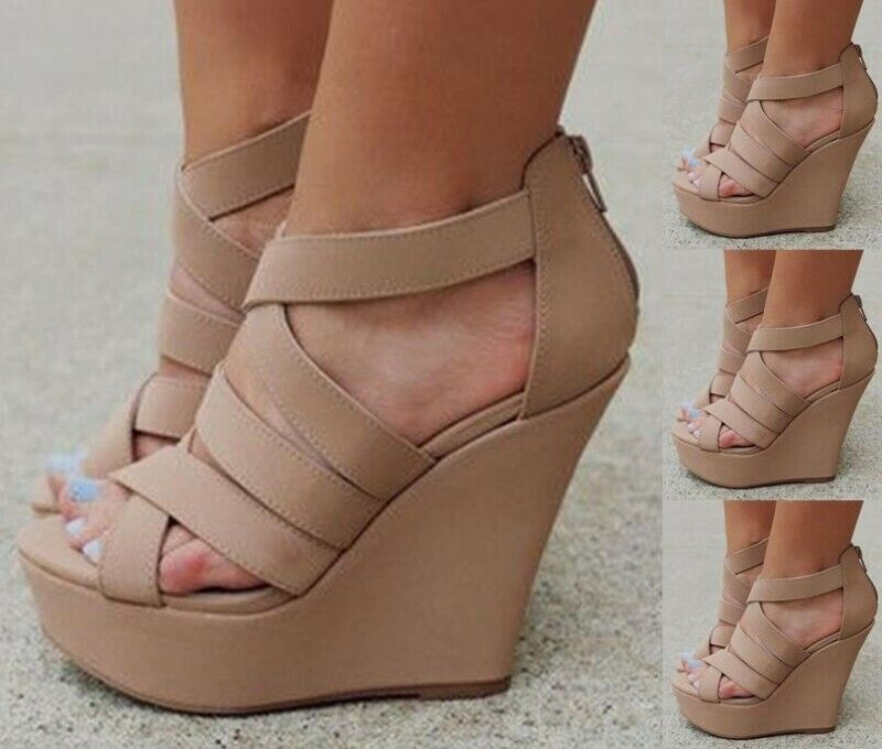 Mujeres Peep Toe Zapatos De Tacón Cuña Zapatos de plataforma al tobillo Sandalias De Fiesta Club nocturno EUR35-47