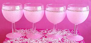 4-PINK-RHIENSTONE-GEM-GLITTER-WINE-GLASSES-PRESENT-WEDDING-BIRTHDAY-CHRISTMAS