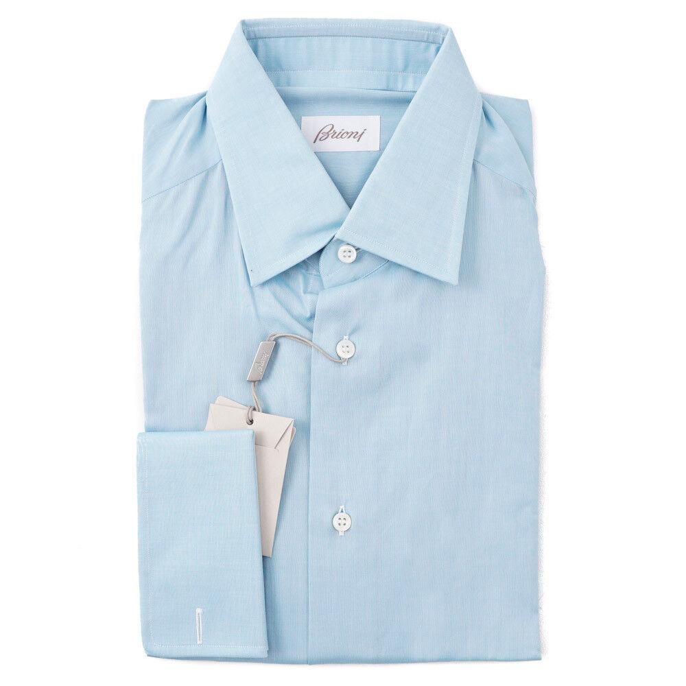 NWT  BRIONI Aqua bluee Extrafine Cotton Dress Shirt 15.75 French Cuffs