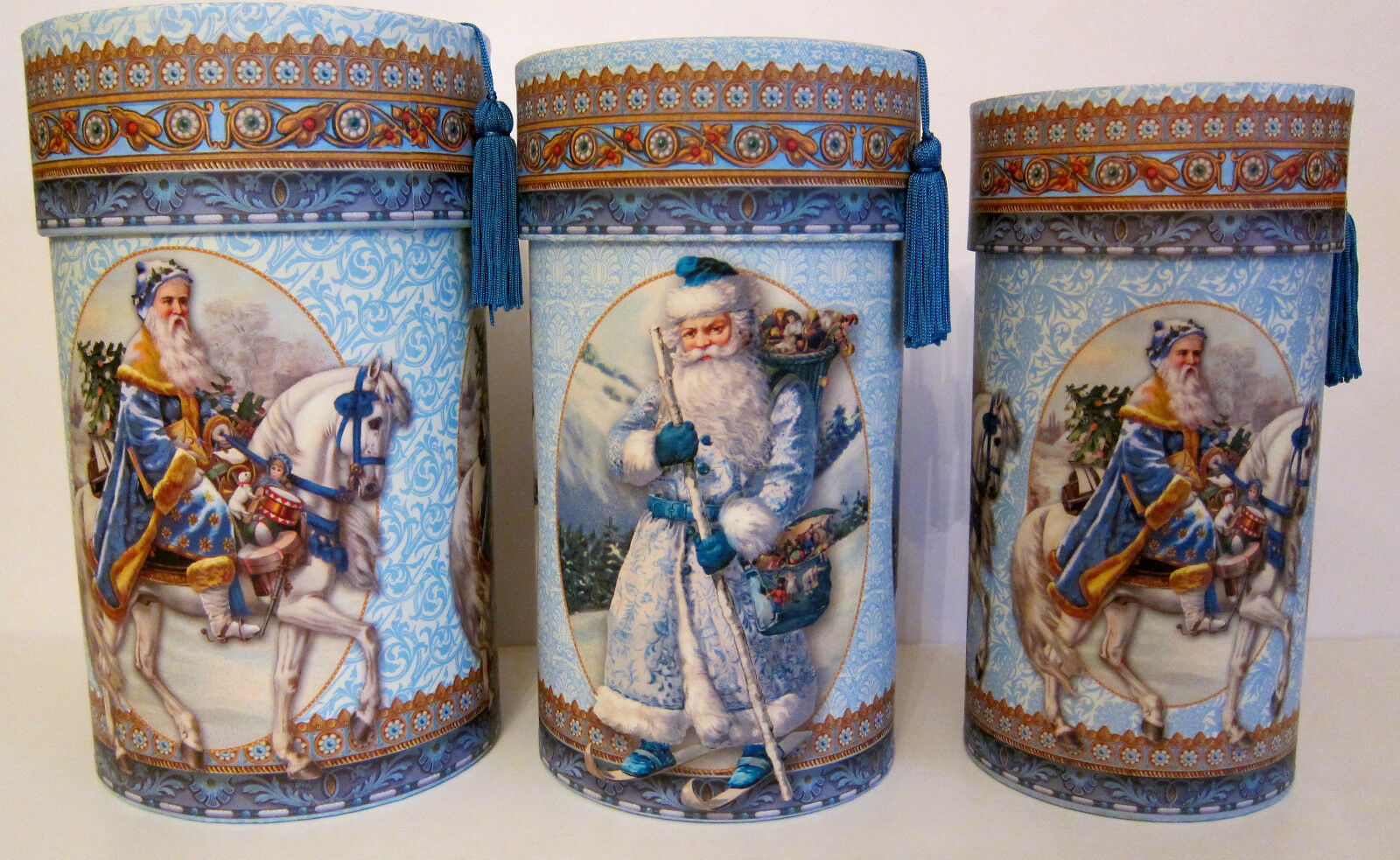 Punch Studio OLD WORLD SANTA'S CHRISTMAS KEEPSAKE GIFT BOXES. Set 3. GORGEOUS