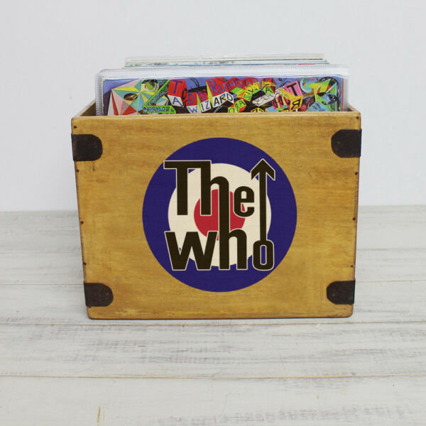 "Beminnelijk The Who Record Box Large 85 Album Crate 12"" Vintage Vinyl"