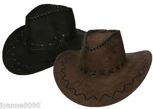 ADULT-MEN-LADIES-COWBOY-COSTUME-SUEDE-HAT-WILD-WEST-FANCY-DRESS-COWGIRL-HEN-STAG