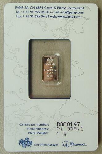 ~ Pamp Suisse 1 Gram .9995 Platinum Bullion Bar ~