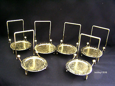 (6) Cup & Saucer Stand Etched Brass Display Tripar 23-2452 LOT OF 6