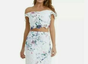 New LIPSY Loves Kate Printed Lace Co-Ord Cropped Top Size 16