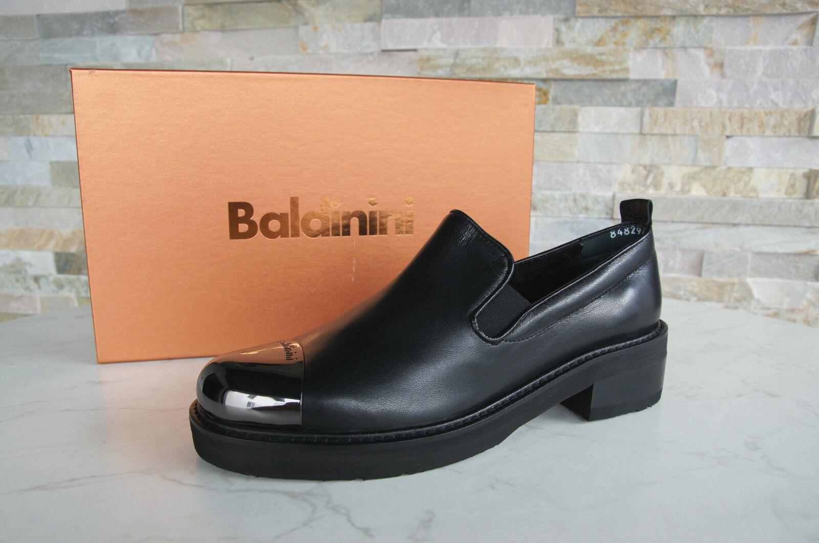 Originale Baldinini Gr 36 Pantofola Pelo Scarpe Basse 848297 Scarpe Nere Nuovo