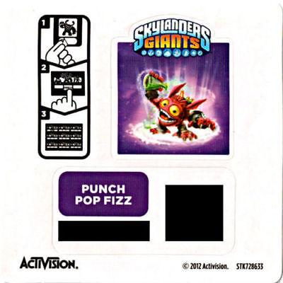 Punch Pop Fizz Skylanders Giants Stat Card Only!