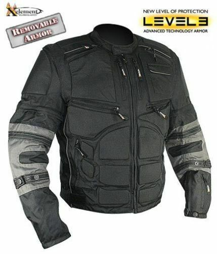 Xelement Mens Black Armored Cordura Padded Riding Motorcycle Jacket (S-3XL)
