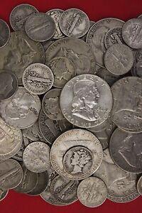 MAKE OFFER Half Standard Pound  Mercury /& Roosevelt Dimes 90/% Silver Junk Coins