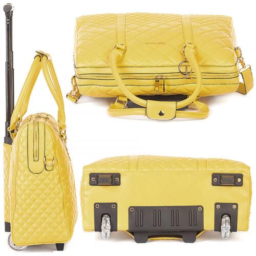 Luxus Damen Schulter Gurt Laptop Akten Rollen Trolley Handtasche Gelb Bowatex