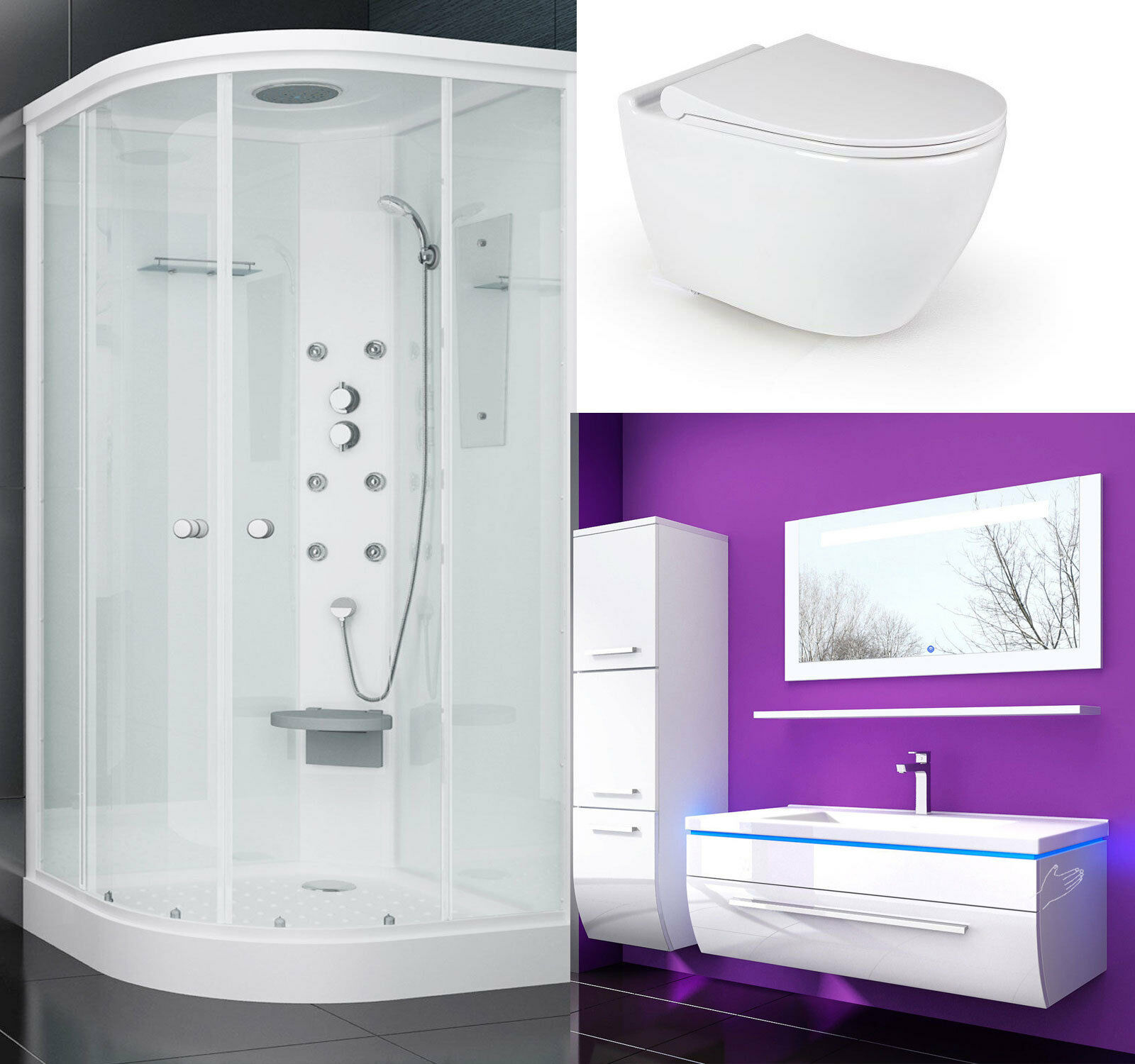 duschkabine 90x90 wc sitz absenkautomatik wand h nge wc keramik badm bel set ebay. Black Bedroom Furniture Sets. Home Design Ideas