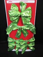6 Lime Green Shimmer Wire Edge Mini Bows Christmas Gift Wreath Package Chevron