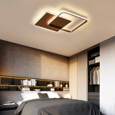 Dimmable LED Ceiling Lights For Living Room Bedroom Square White Brown  Color New | eBay