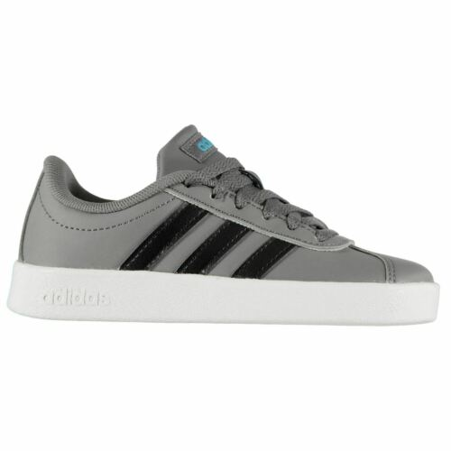 adidas VL Court Childrens Sneakers Low Laces Fastened Padded Ankle Collar