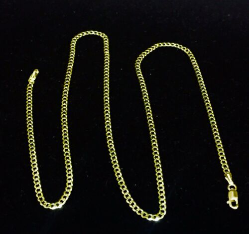"""10k Solid Gold Comfort Concave Cuban Curb Link Chain Necklace 18/"""" 2.8mm 3.5 grms"""