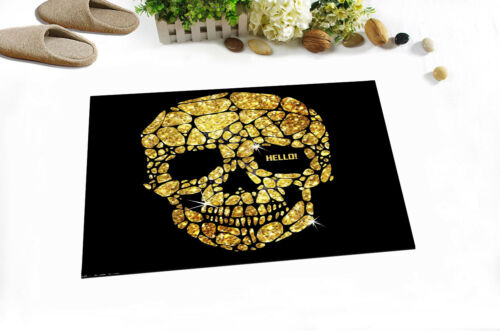 "24x16/""Hello Fliker Gold Crack Skull Non-Slip Bathroom Carpet Bath Mat Rug Carpet"