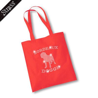 Jutebeutel Beutel Bag Einkaufstasche Shopper Strass Hund Bordeauxdogge M1