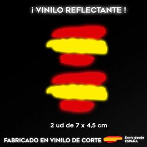 2X-BANDERA-ESPANA-REFLECTANTE-PEGATINA-STICKER-VINILO-COCHE-ADHESIVO-MOTO-CASCO