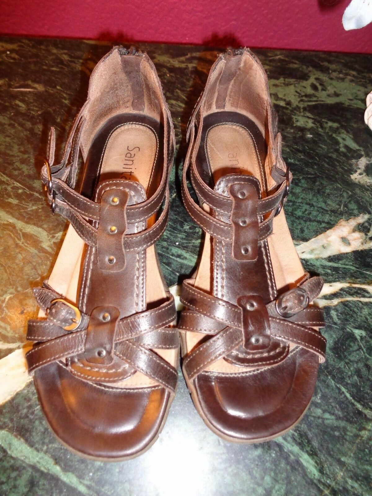 SANITA SANGRIA BROWN LEATHER STRAPPY SANDALS 37 (6) PORTUGAL PRISTINE CONDITION