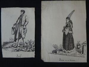 Dessins-VACCARI-Album-africain-costumes-1831-Juif-Alger-orientalist-Jewish-XIX