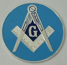 Freemason Master Mason Silver and Blue Car Emblem
