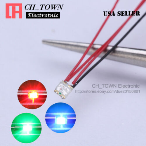10Pcs PreWired 0402 0603 0805 1206 SMD LED Micro White Red Light Emitting Diodes