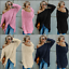 Womens Solid Cold Shoulder Fluffy Sweater Long Sleeve Baggy Jumper Pullover Tops