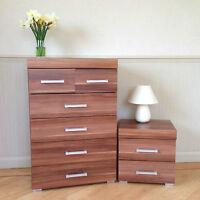 Walnut Effect 4+2 Drawer Chest & 2 Drawer Bedside Cabinet Bedroom Furniture 6
