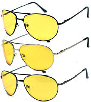 Night Driving Metal Yellow Lens Aviator Sunglasses Spring Hinge Temple AV02
