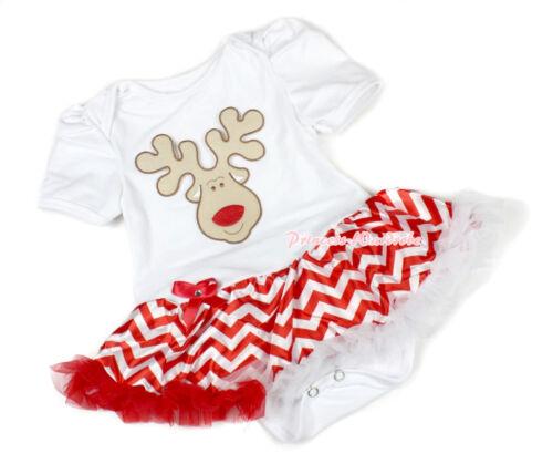 XMAS White Jumpsuit Santa Reindeer Red White Wave Baby Dress Bodysuit NB-12Month