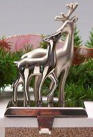 Christmas Silver Deer Stock Holder, Stocking Hanger 8 Height