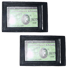 2x Black Cowhide LEATHER THIN Slim Credit Card ID Holder Front Pocket Wallet 154