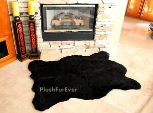 3 X5 Californian Black Bear Faux Fur Rug Bearskin