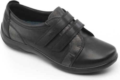 2E//3E Casual Comfy Shoes Black Padders PIANO Ladies Womens Leather Extra Wide