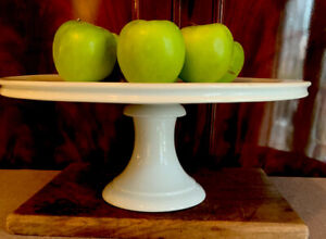 Antique-French-White-Porcelain-White-Ironstone-Cake-Plate-Platter-Display