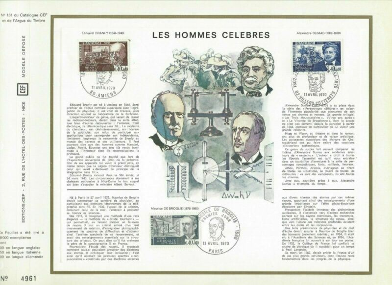 Cef Sheet 1er Day France The Famous Man 1970-show Original Title To Adopt Advanced Technology