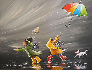Pete-Rumney-Art-Original-Painting-Umbrella-Windy-Day-Rain-Wellies-Dog-Mackintosh