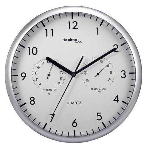 Technoline WT 7981 Wanduhr 30 cm Chrom Sport-Design Hygrometer Thermometer