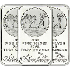 SilverTowne Logo 1oz .999 Fine Silver Bar LOT OF 3