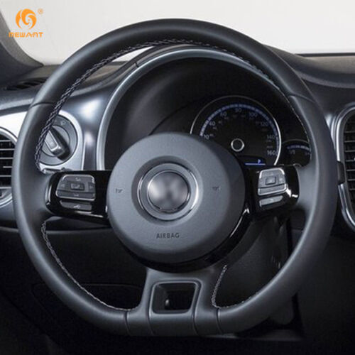 Black Leather Steering Wheel Cover for VW Beetle 2012-2016 Up 2013-2016 #DZ17