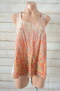 Saba-Tank-Top-Blouse-Size-14-Orange-Pink-White-Silk-Sleeveless