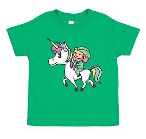 1b12a62f1 Image is loading Kids-Youth-Leprechaun-Riding-Unicorn-Clover-Cute-Irish-